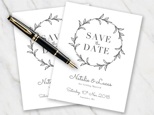Wedding save-the-date in black and white with leaves and an elegant font