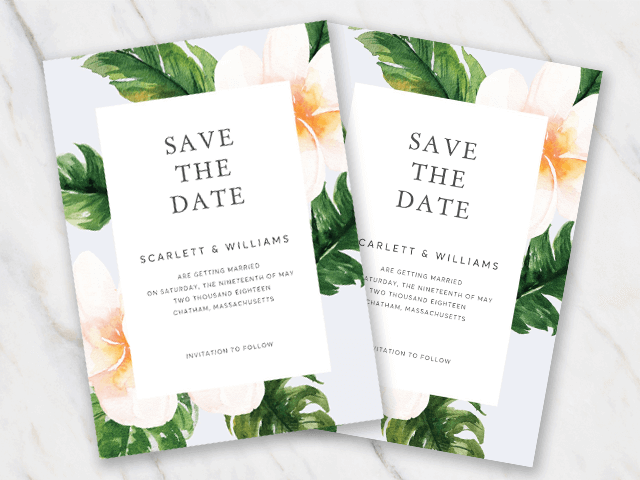 Wedding save-the-date template with classic flower frame
