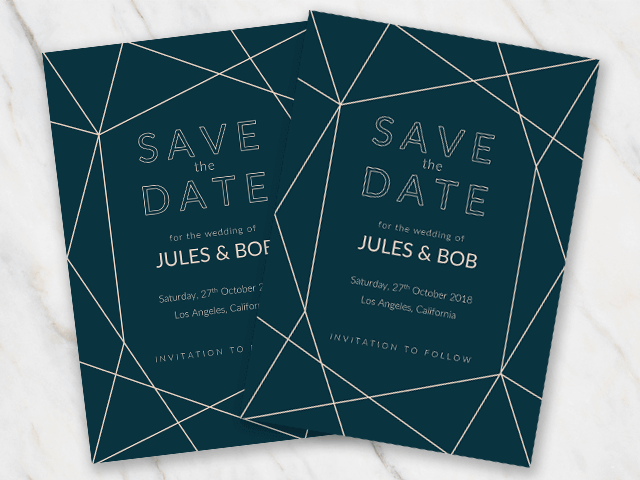 Wedding save-the-date template in dark blue and with geometric lines
