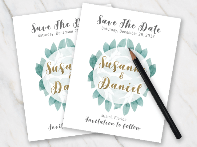Example of wedding save-the-date with green leaves and golden font