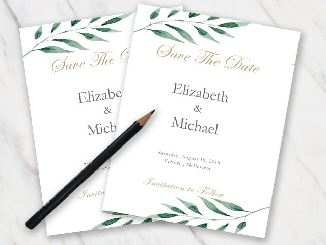 example of wedding save-the-date template with green olive branches and golden font