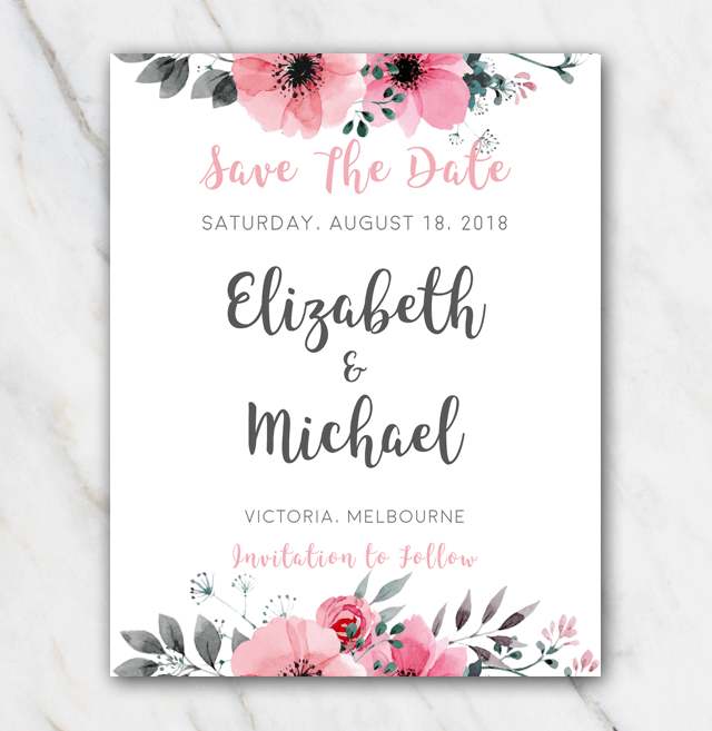 Pink floral wedding save-the-date template