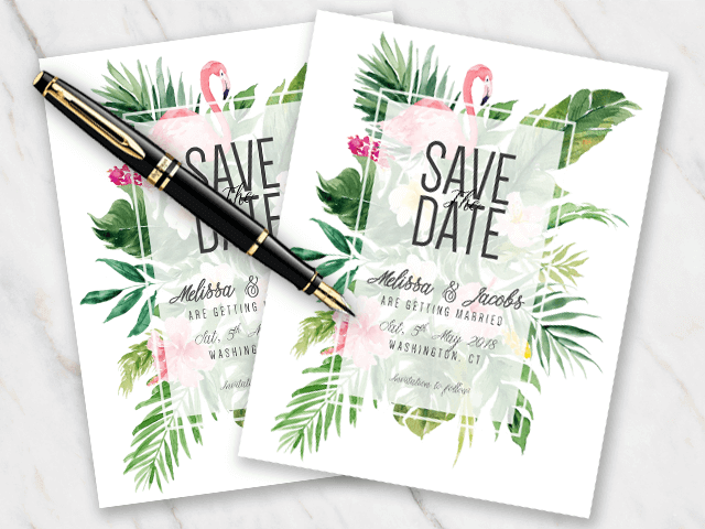 Example of wedding save-the-date with tropical flowers plants and flamingos