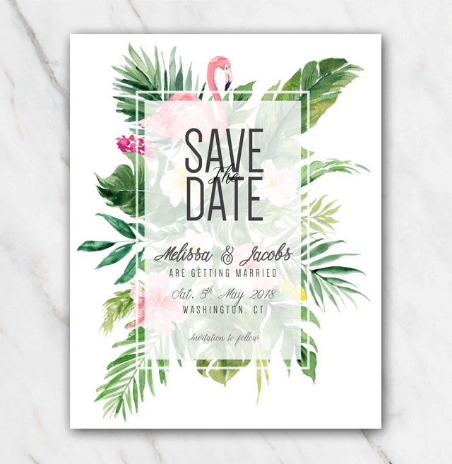 Tropical flamingo wedding save-the-date template