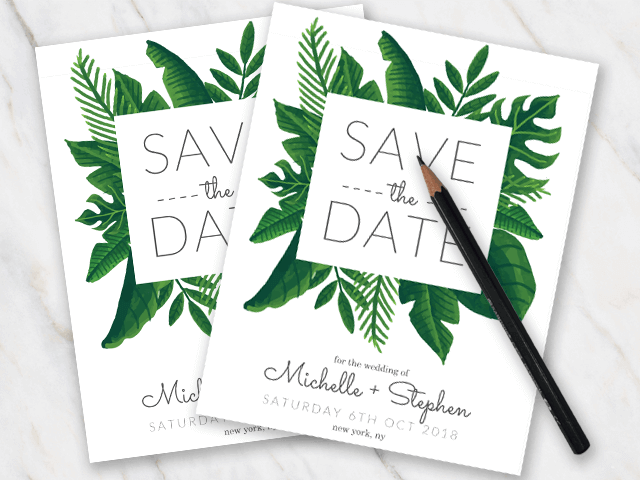 Wedding save-the-date template with green tropical leaves