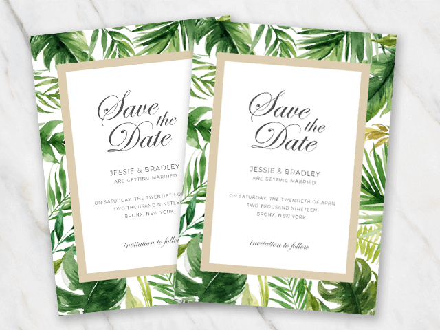 Wedding save-the-date template with a frame made from tropical palmtree leaves