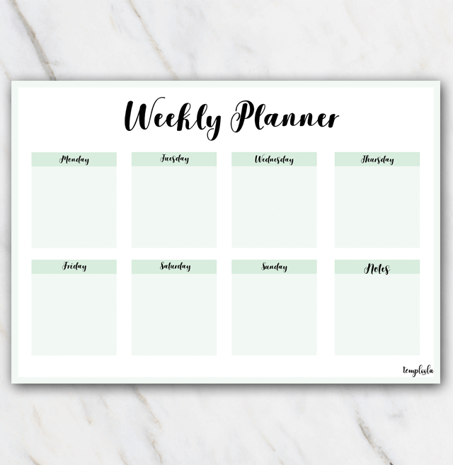 printable landscape weekly planner in minty colors